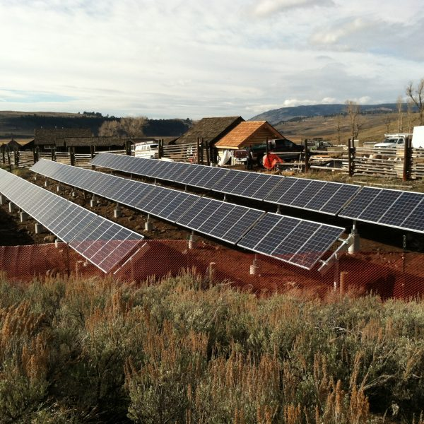 Photovoltaic system in the Lamar Valley of Yellowstone National Park